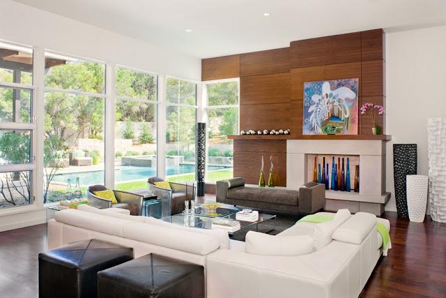 Photo of beautiful modern living room interiors