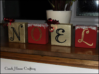 wooden blocks, scrapwood, noel, painted blocks, christmas diy
