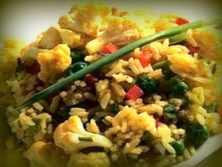 Arroz con coliflor al curry