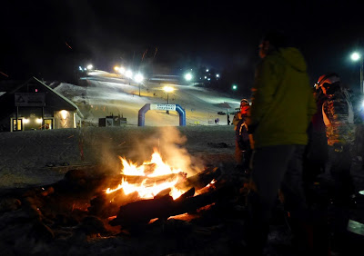 A bonfire outside the lodge at West Mountain Wednesday night, 01/14/2015.  The Saratoga Skier and Hiker, first-hand accounts of adventures in the Adirondacks and beyond, and Gore Mountain ski blog.