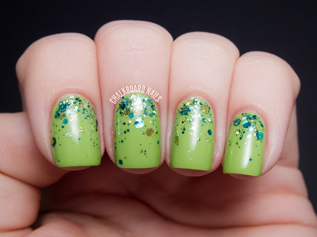 Chalkboard Nails: Glitter gradient with CrowsToes Frog's Breath