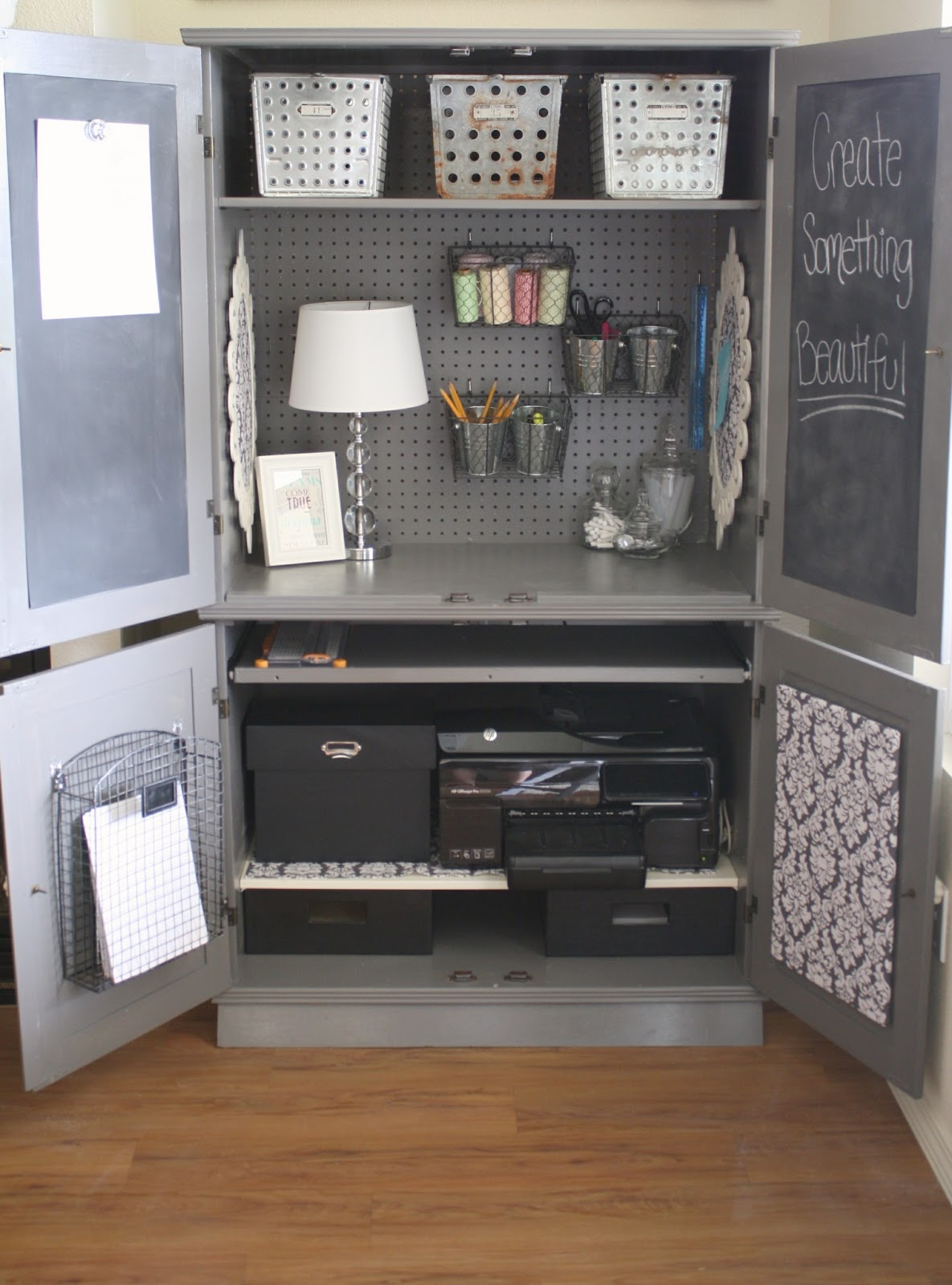 plain armoire into office space. Black Bedroom Furniture Sets. Home Design Ideas