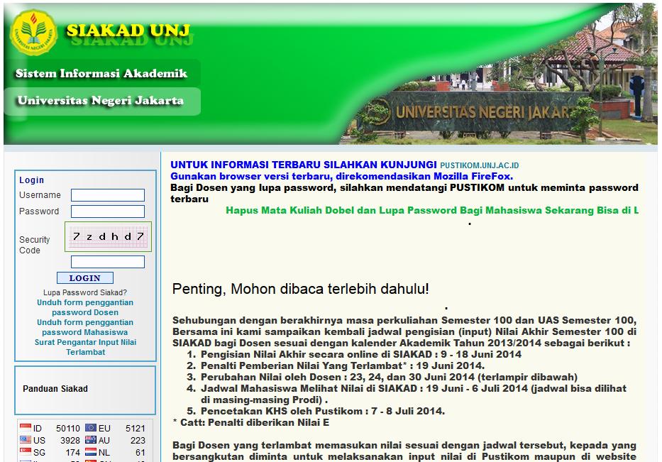 Jadwal Akses SIAKAD (per Juni-Juli 2014)