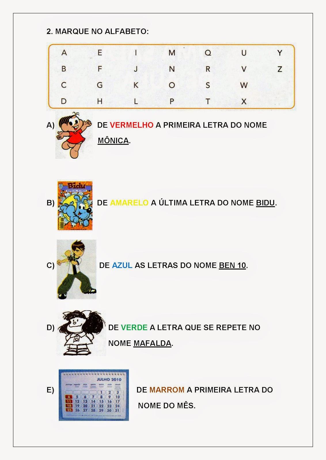 Atividades de Letramento para Imprimir com alfabeto