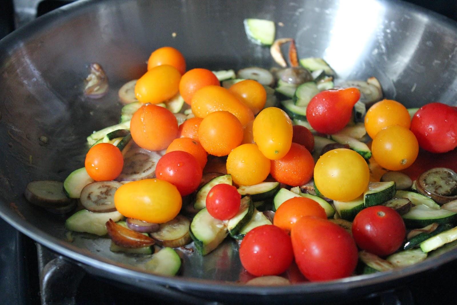 Zucchini, fairytale eggplant, and tomatoes