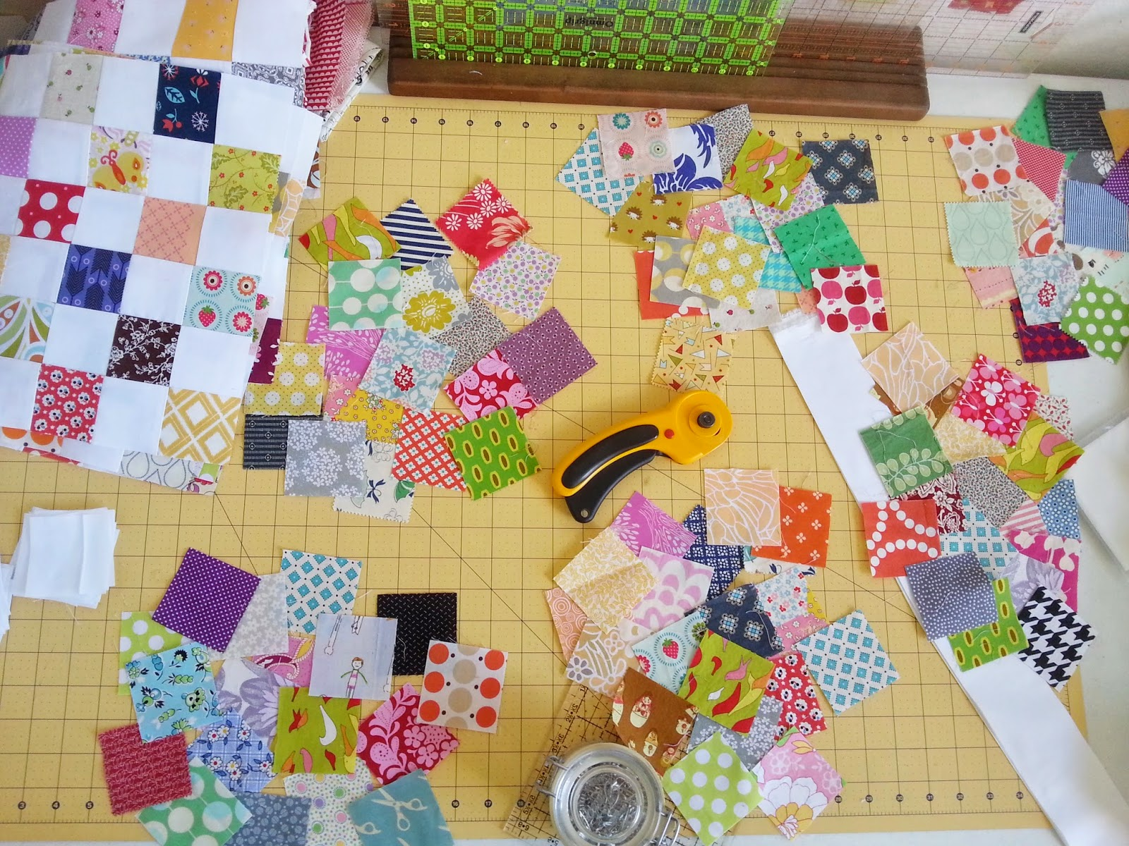 Postage Stamp Quilt Squares Progress