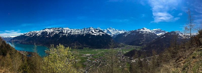 panoramic view while hiking mid way up Harder Klum in Interlaken Switzerland