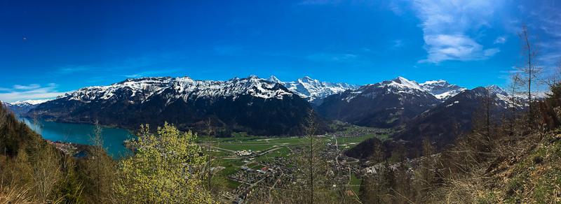 panoramic view while hiking mid way up Harder Klum in Interlaken Switzerland