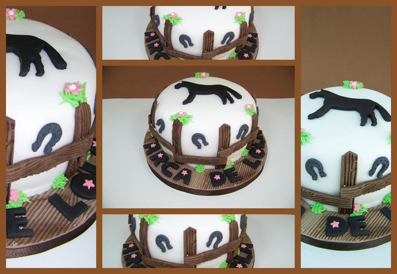 Pastel Caballo Tarta Hípica Rodeo Bizcocho Victoria Sponge Cake Buttercream Frambuesa Vainilla Cumpleaños Aniversario Marrón Herraduras Fondant