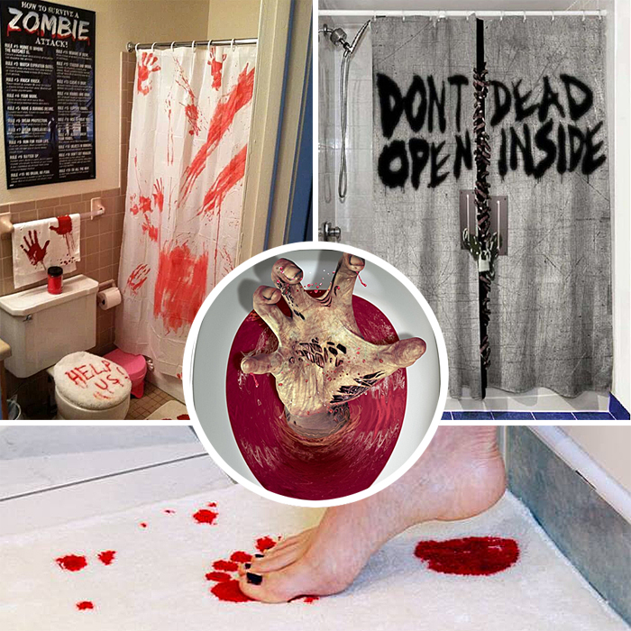84 zombie bathroom decor creepy walking dead bloody