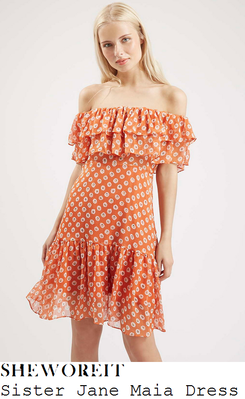 diana-vickers-orange-daisy-print-off-shoulder-frill-dress