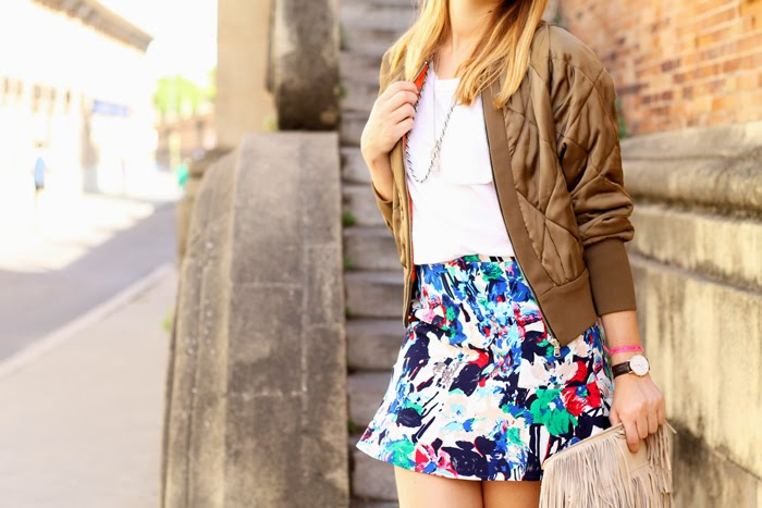 colourful flowered skirt