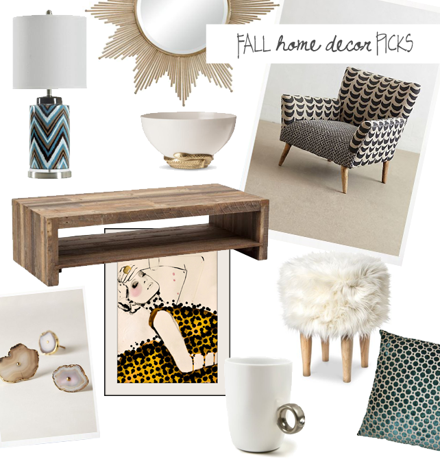 Fall 2014 home decor - top picks from interior designer Lesley Myrick. Zigzag lamp, starburst mirror, geode knobs, reclaimed wood coffee table, faux fur stool, white and gold serpent bowl, and more. Click for sources! #decor #trends #homedecor #fall2014