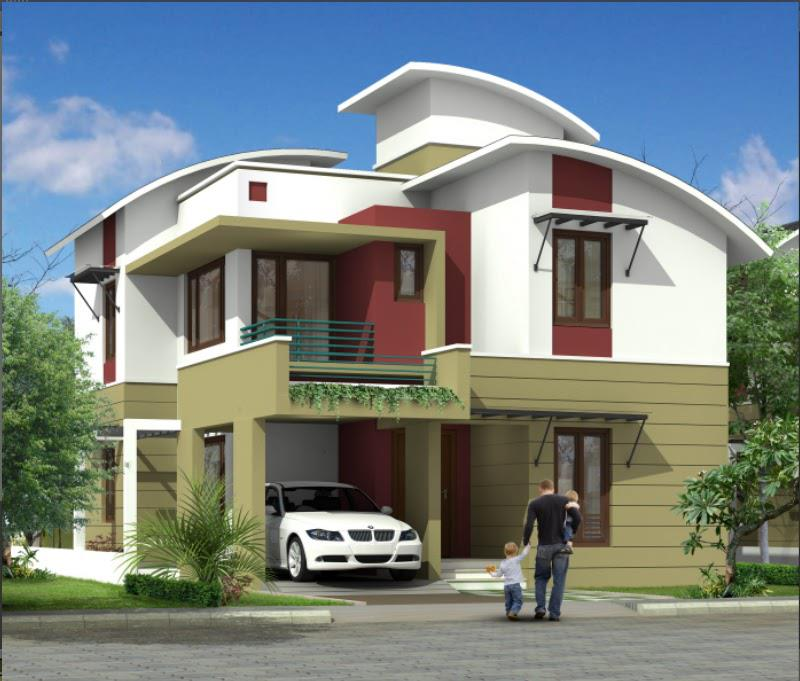 3D Front Elevation   India House Front Elevation