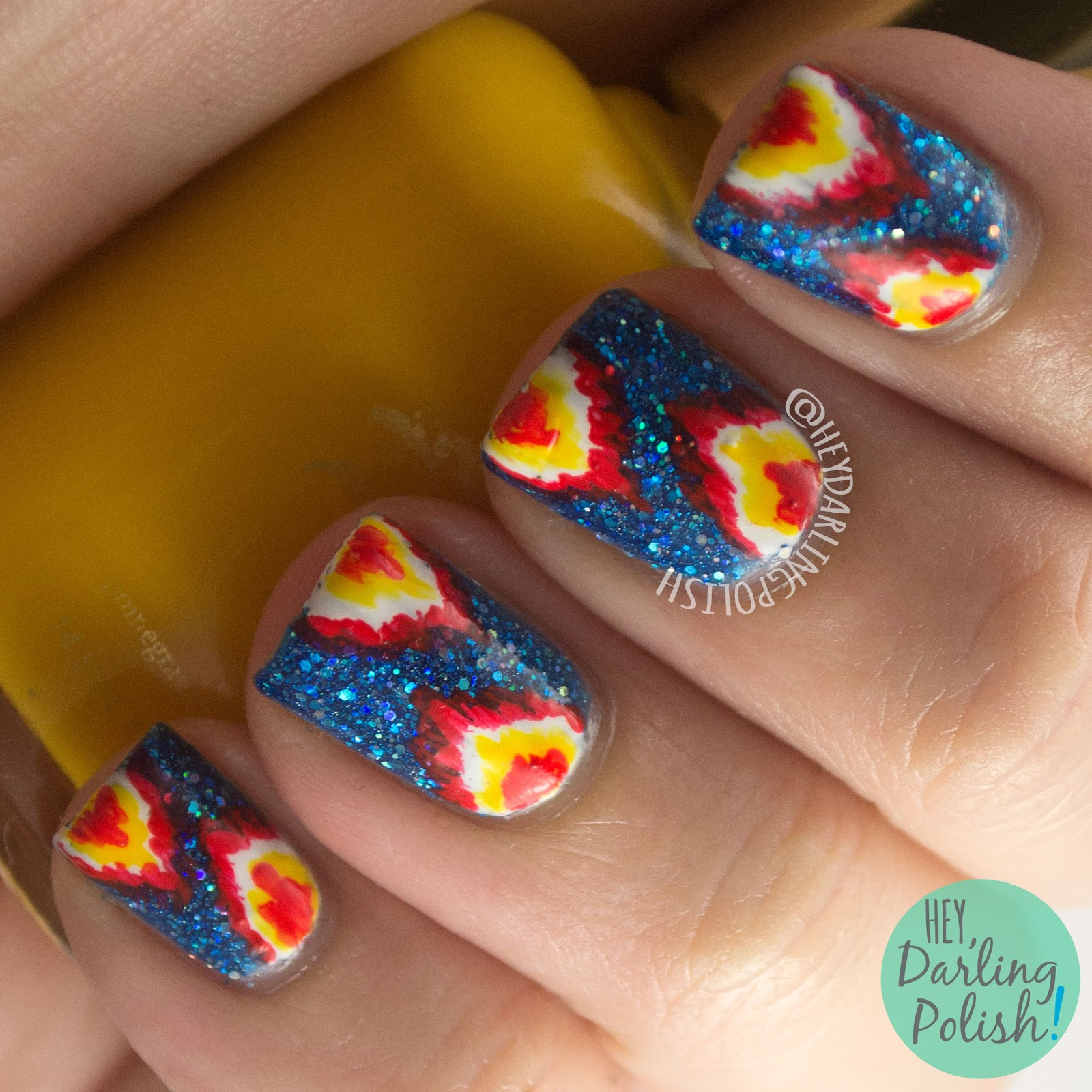 nails, nail art, nail polish, indie, indie polish, blue, red, yellow, ikat, tri polish challenge, hey darling polish