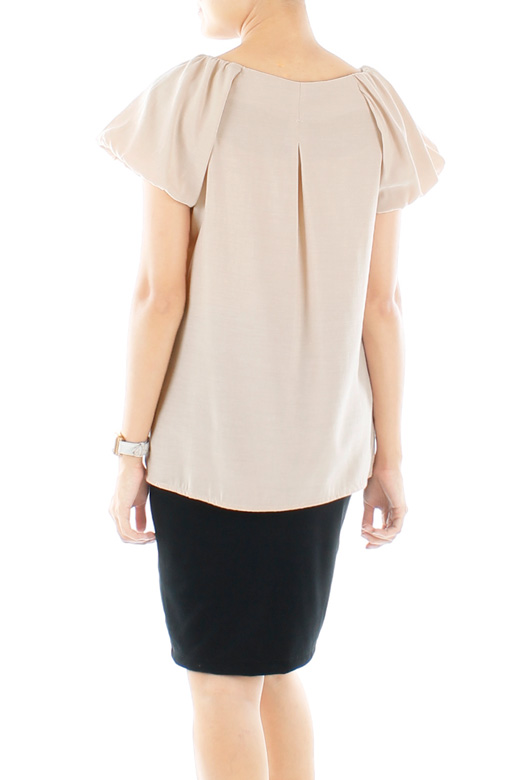 Adele Contrast Work Blouse with Puff Sleeves