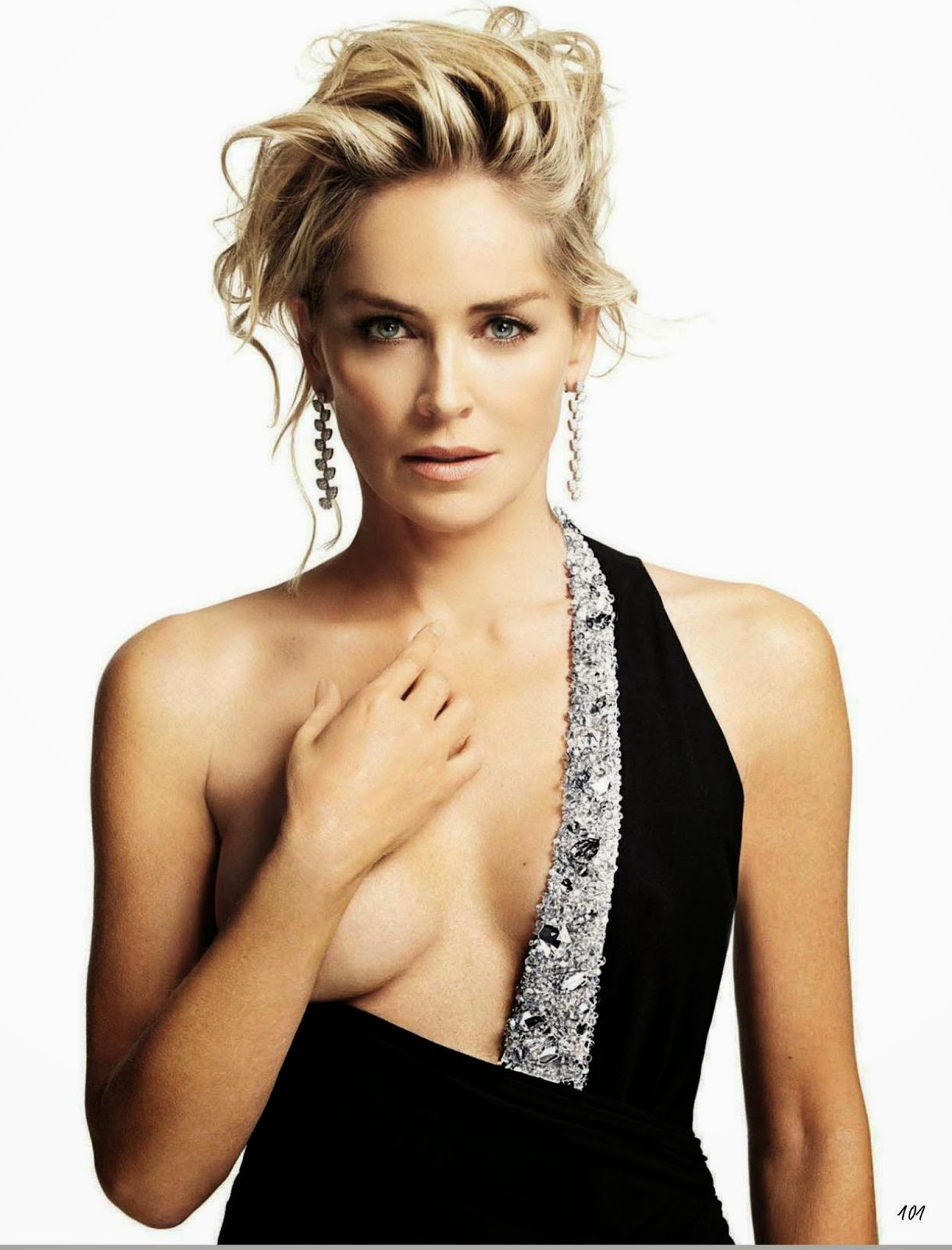 sharon stone holding breast