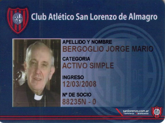 New Pope Francis I & his San Lorenzo member card