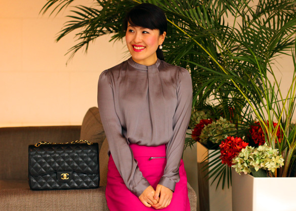 Taupe Blouse Magenta Pencil Skirt