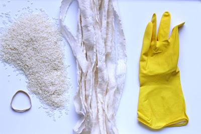 DIY mão Múmia, luva de borracha, halloween, tecido, arroz, projeto