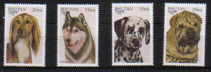 1997年ブータン王国 サルーキ シベリアン・ハスキー ダルメシアン シャー・ペイの切手