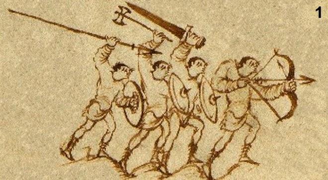 Gewölbte Rundschilde im Utrechter Psalter.