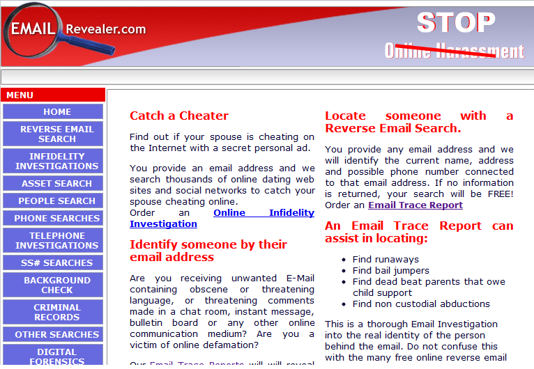 Find email address on dating websites