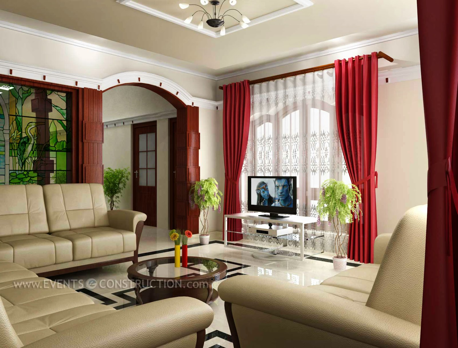 Evens construction pvt ltd modern kerala entertainment for Living room interior designs kerala