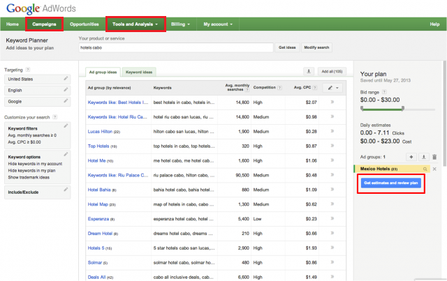 how to bring keyword up on screen