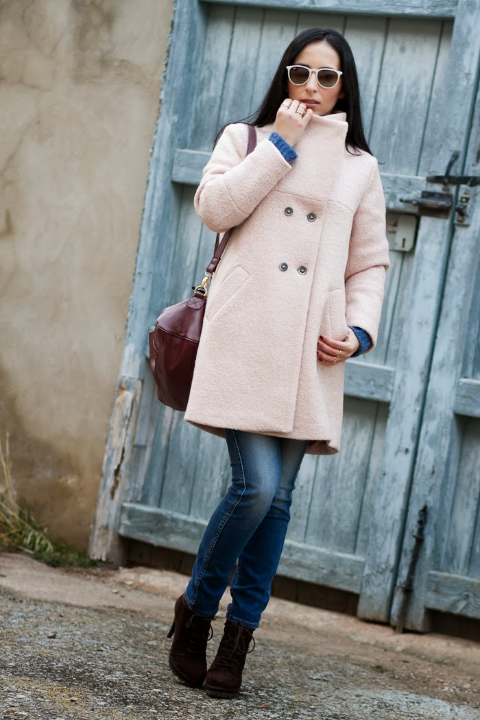 Streetstyle with Pink Coat and Blue Reversible Jeans by Meltin' Pot