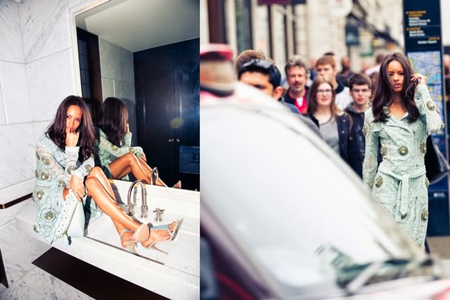 Burberry Prorsum 2014 SS Editorial:Mint Lace Trench Ccoat with Rhinestones