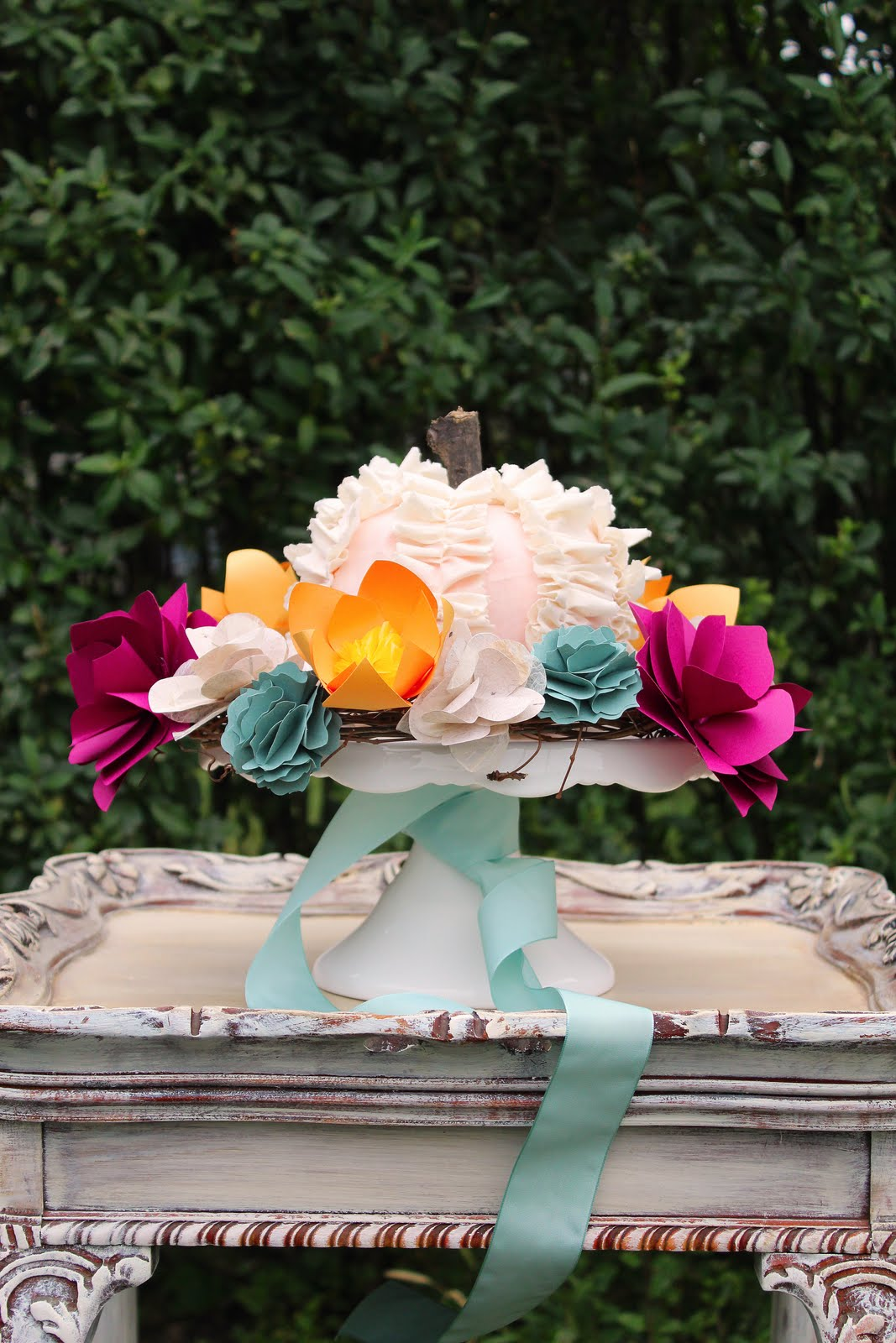 Diy paper flower wreath ruffled - Sep
