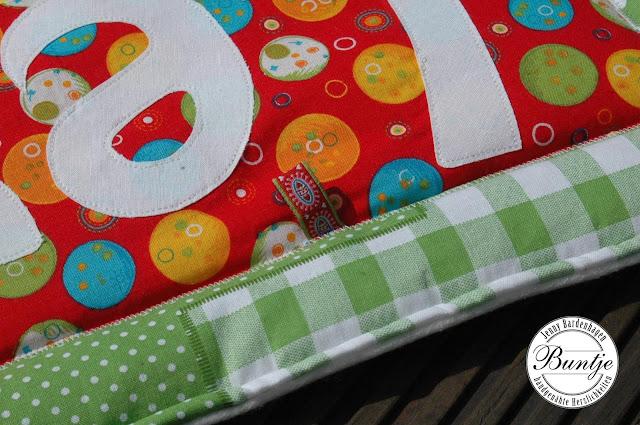 Krabbeldecke Decke Baby Name Mädchen Baumwolle Fleece bunt gelb rot türkis Geschenk Geburt Taufe nähen handmade Buntje