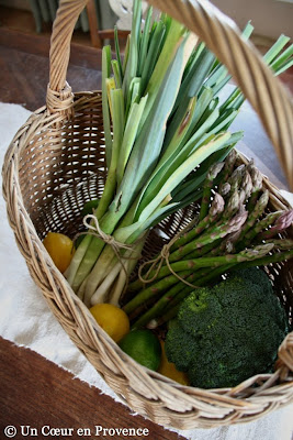 A former oval wicker basket filled with fresh leaks and asparagus