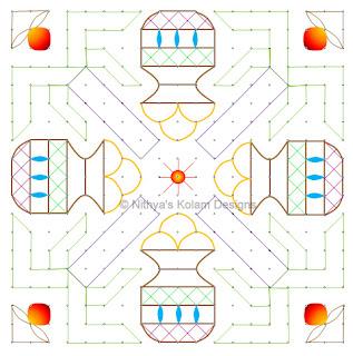 6 Pongal kolam 19 x 19 dots