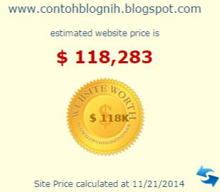 CB masukkan URL Blog ke situs yang biasa dipakai untuk mengetahui harga blog Wow!!! Harga Blog CB Lebih dari Rp 1 Miliar!