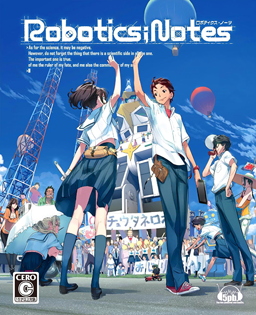 The box art, featuring the main characters high-fiving with a robot in the background.