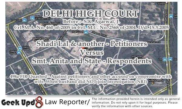 498a FIR Quashed - Against petitioners and other accused on compromise with wife, When husband did NOT join Investigation (NRI) - Delhi High Court