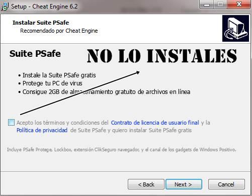 Instalación Cheat Engine 6.2 en Español