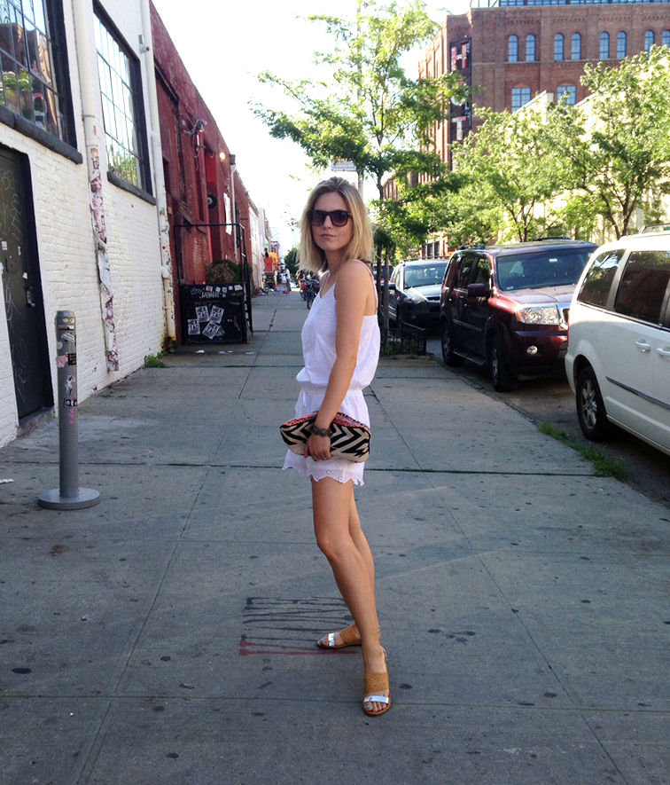 White eyelet LOFT romper, silver & tan straw sandals, street style, Brooklyn New York, on the street, ootd, summer style