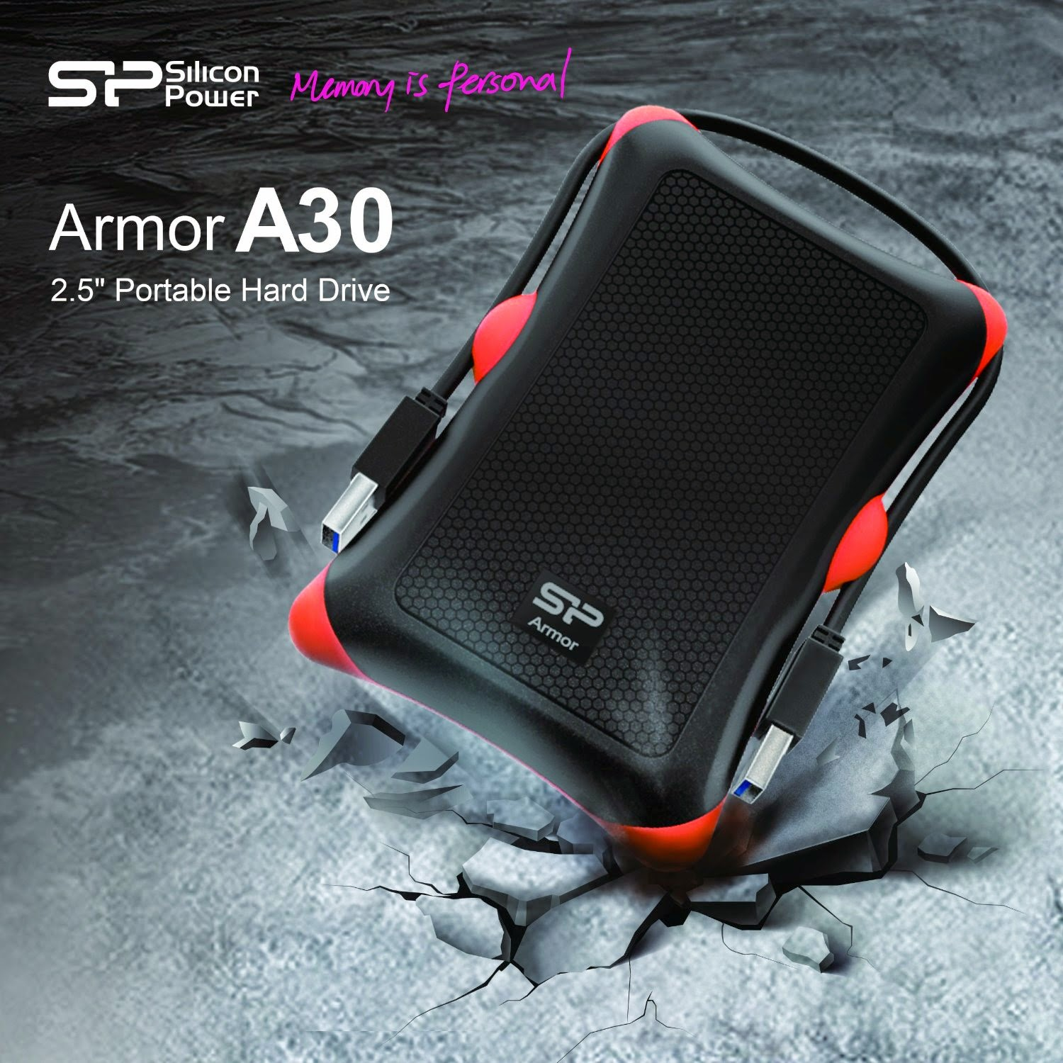 Silicon Power 500GB Rugged Armor A30 Military Shockproof Standard 2.5-Inch USB 3.0 External Portable Hard Drive