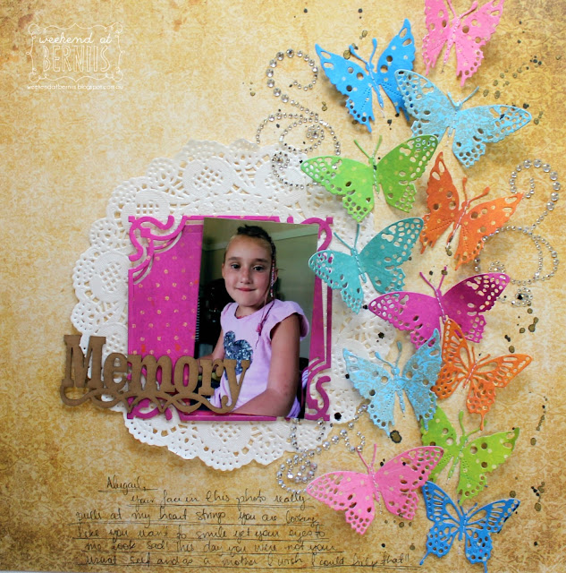 Memory layout by Bernii Miller for BoBunny using the Vintage Double Dot range.