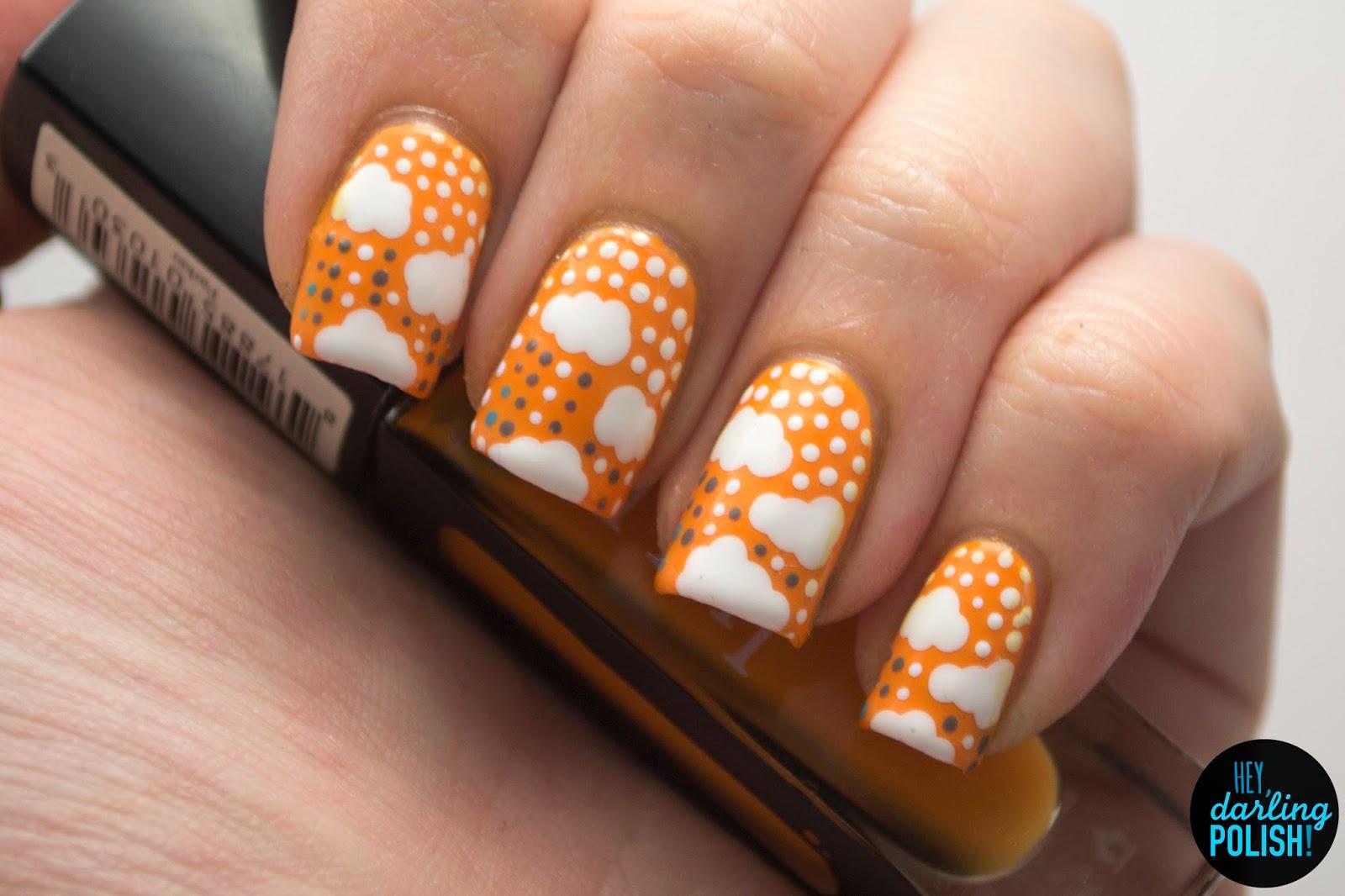 nails, nail art, nail polish, polish, clouds, dots, yellow, white, hey darling polish, n.a.i.l.,