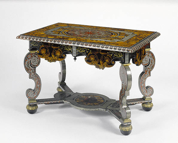 Table, Attributed to André-Charles Boulle, about 1680, Oak veneered with marquetry tortoise shell, pewter, brass, ebony, horn, ivory, boxwood, cherry, natural and stained sycamore, pear, thuya, satinwood, cedar, beech and amaranth; gilt-bronze mounts