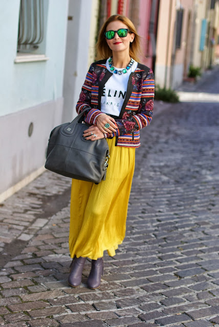 Zara yellow maxi skirt, Givenchy Nightingale grey, bicolor ankle boots, Fashion and Cookies, fashion blogger
