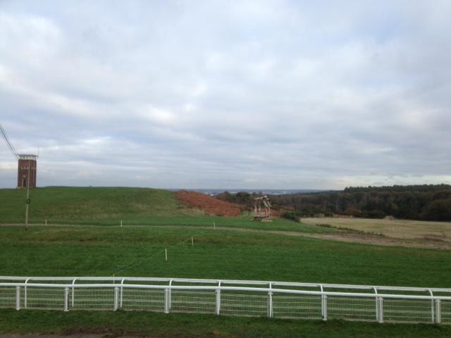 Tweseldown Racecourse uitzicht vanaf de tribune met de commentator toren op de achtergrond.