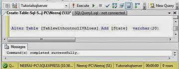 جملة الاستعلام لإضافة عمود في جدول SQL