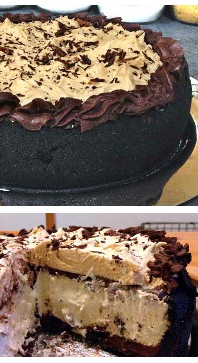 Double Layer: Cheesecake and Peanut Butter Mousse with Chocolate Ganache on Oreo Cookie Crust