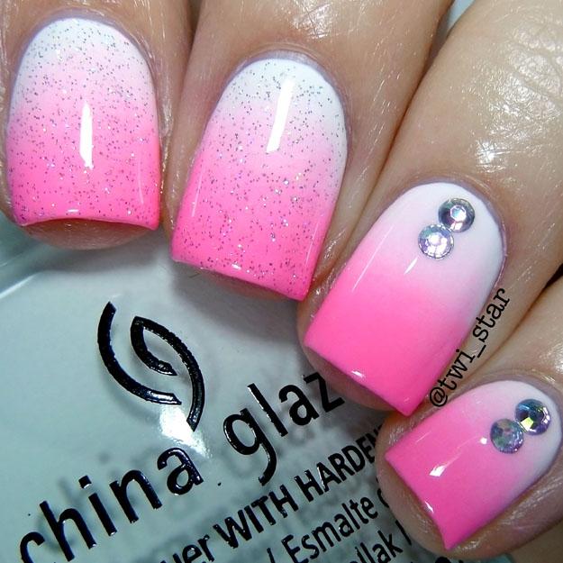China Glaze White on White gradient mani