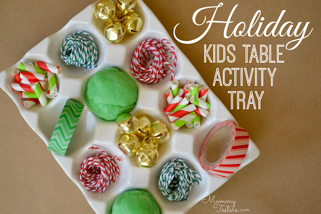 Mommy Testers, kids holiday party activity, kids table activity, holiday party crafts for kids, paper straw beads, jingle bell bracelets, DIY holiday play dough